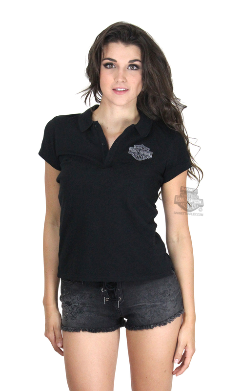 ** SMALL SIZES ONLY ** Harley-Davidson® Womens B&S Logo Washed Black Short Sleeve Polo