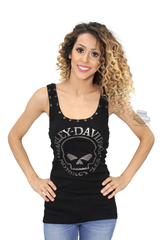 Harley-Davidson® Womens Willie G Skull Lace Back with Grommets Black Sleeveless Tank