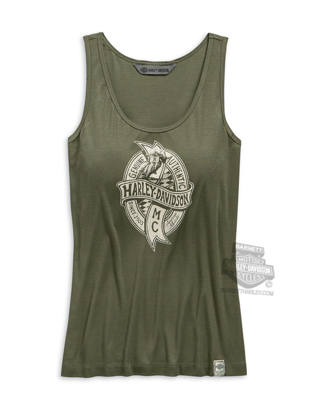 Harley-Davidson® Womens American Muscle Green Sleeveless Tank