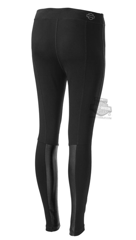 Harley-Davidson® Womens Leather Accent Mid-Rise Stretch Black Leggings