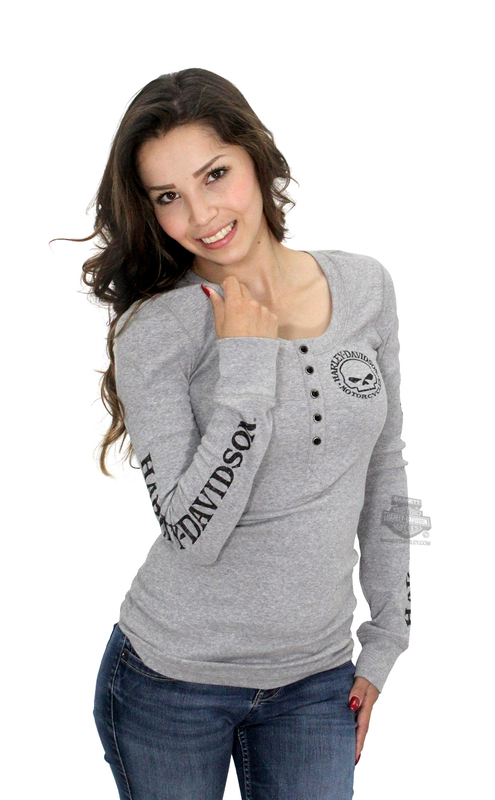 Harley-Davidson® Womens Willie G Skull Snap Front Grey Long Sleeve Henley