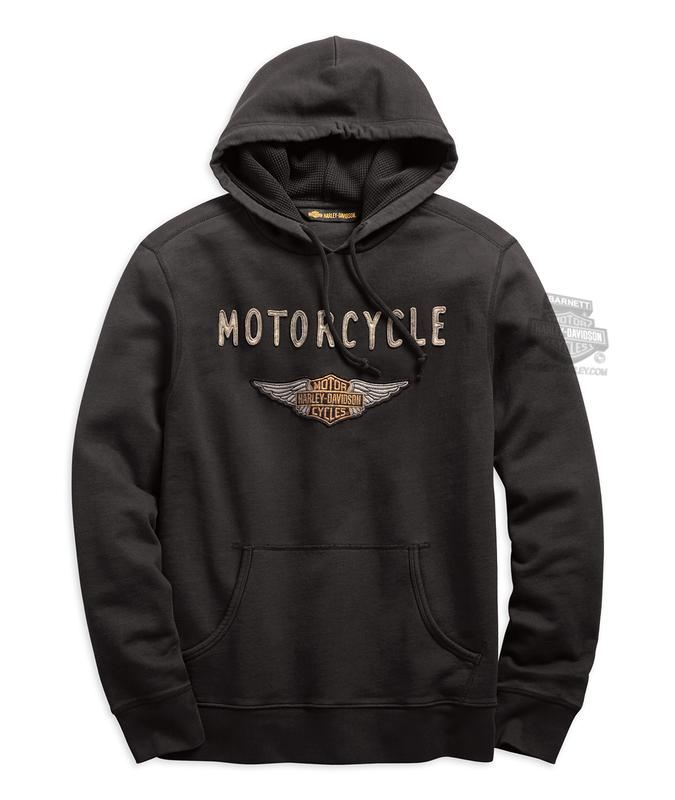 Harley-Davidson® Mens Felt Patch Winged B&S Slim Fit Pullover Black Long Sleeve Hoodie