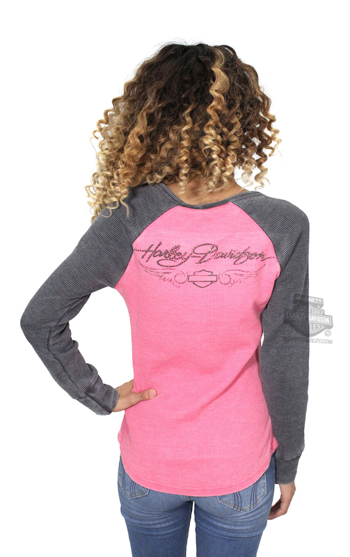 Harley-Davidson® Womens Pink Label B&S Wings Waffle Knit Pink Long Sleeve Henley