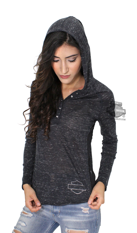 Harley-Davidson® Womens Lace Accent Winged B&S Hooded Black Long Sleeve Henley