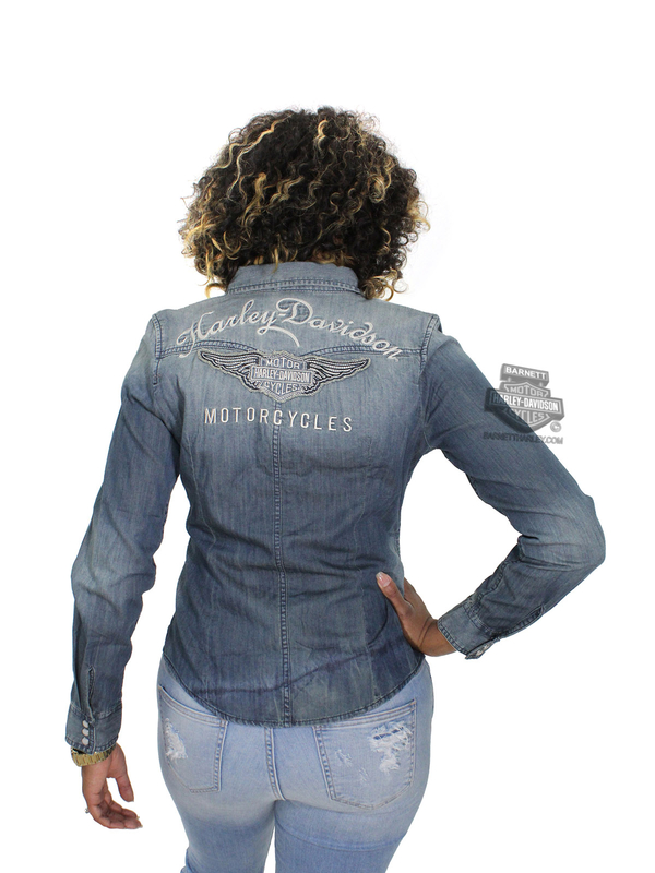 Harley-Davidson® Womens Genuine Classic Winged B&S Distressed Look Blue Long Sleeve Woven Shirt