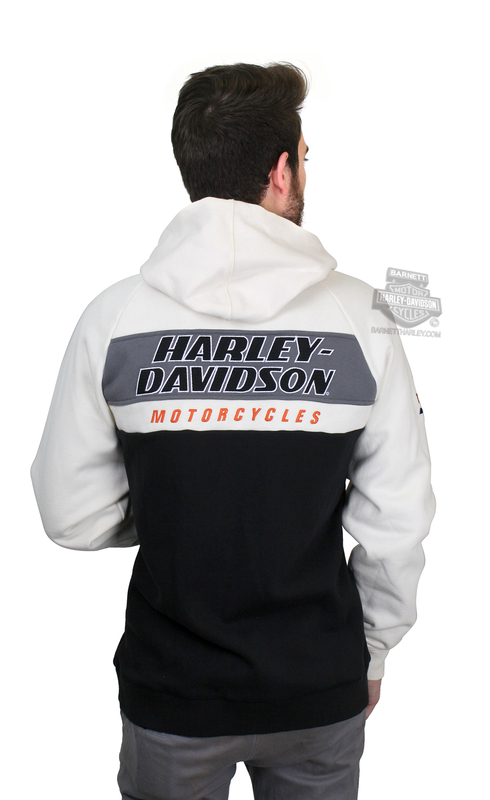 Harley-Davidson® Mens H-D Racing Colorblock White Long Sleeve Hoodie