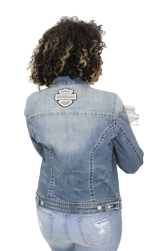 ** SMALL & BIG SIZES ONLY ** Harley-Davidson® Womens Patches & Pins with Rhinestone Embellished Denim Blue Casual Jacket