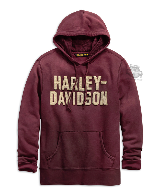 Harley-Davidson® Mens Felt Lettering H-D Slim Fit Pullover Red Long Sleeve Hoodie