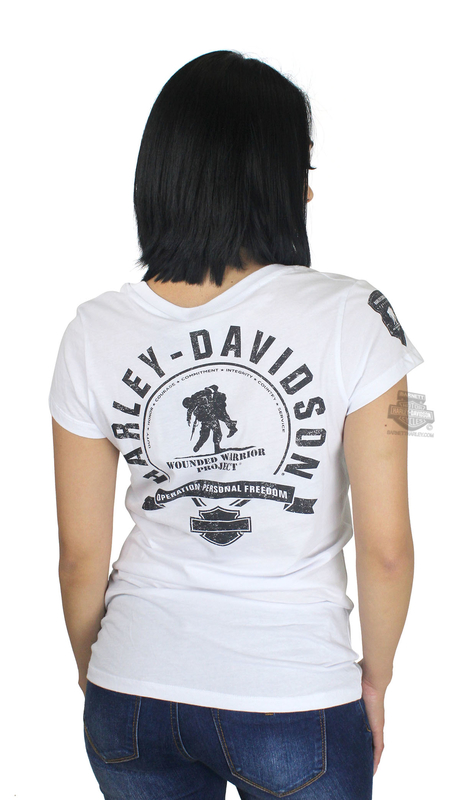 Harley-Davidson® Womens Wounded Warrior Project® B&S Logo White Short Sleeve T-Shirt