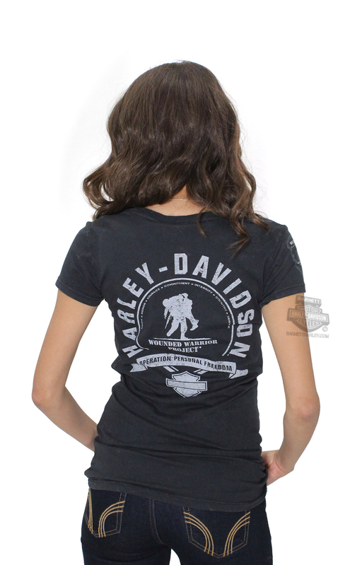 ** SMALL & BIG SIZES ONLY ** Harley-Davidson® Womens Wounded Warrior Project® B&S Logo Mineral Wash V-Neck Black Short Sleeve T-