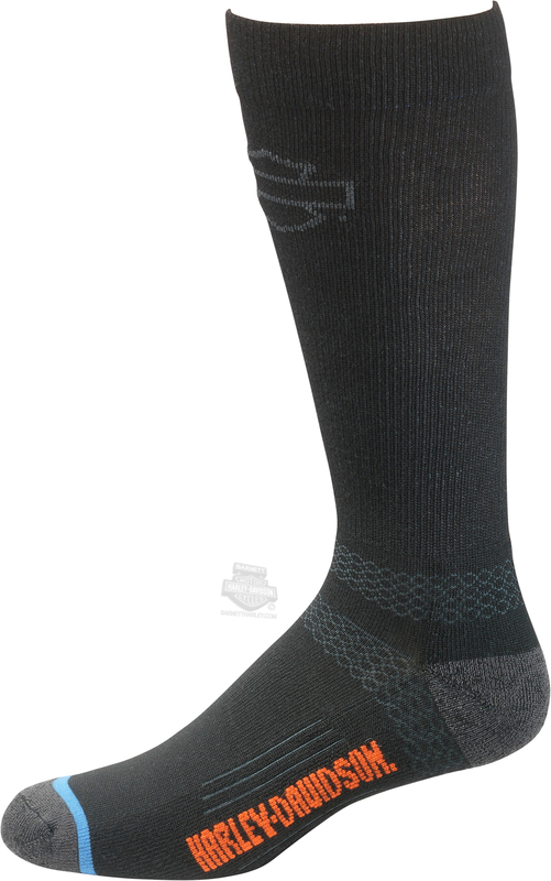 Harley-Davidson® Mens Comfort Cruiser UltraDri™ Black Poly Blend Socks