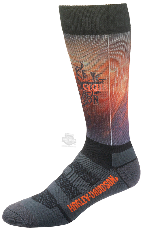 Harley-Davidson® Mens Cushion Vented Performance Flame Riding Black Poly Blend Socks