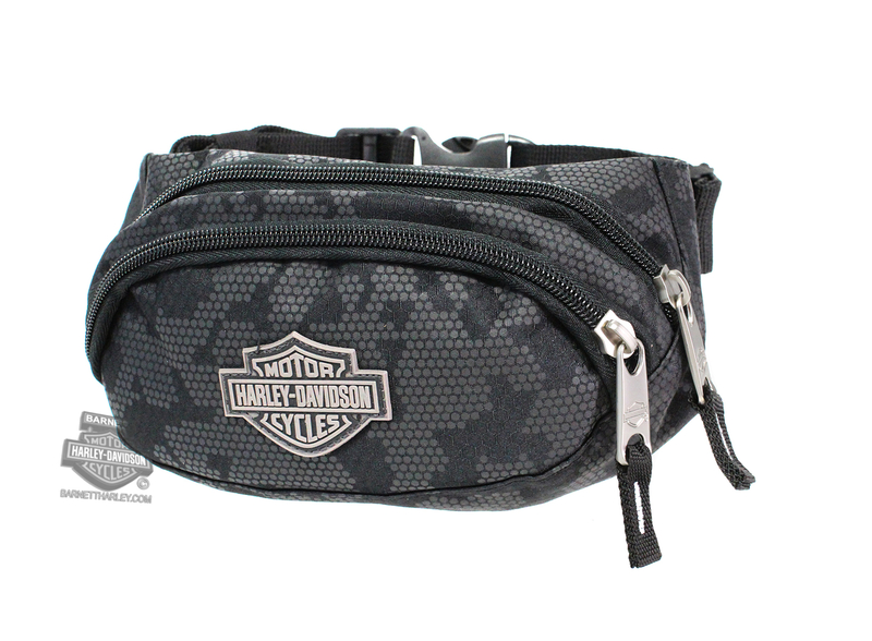 Harley-Davidson® Mens B&S Logo Nightvision Black Polyester Hip Pack