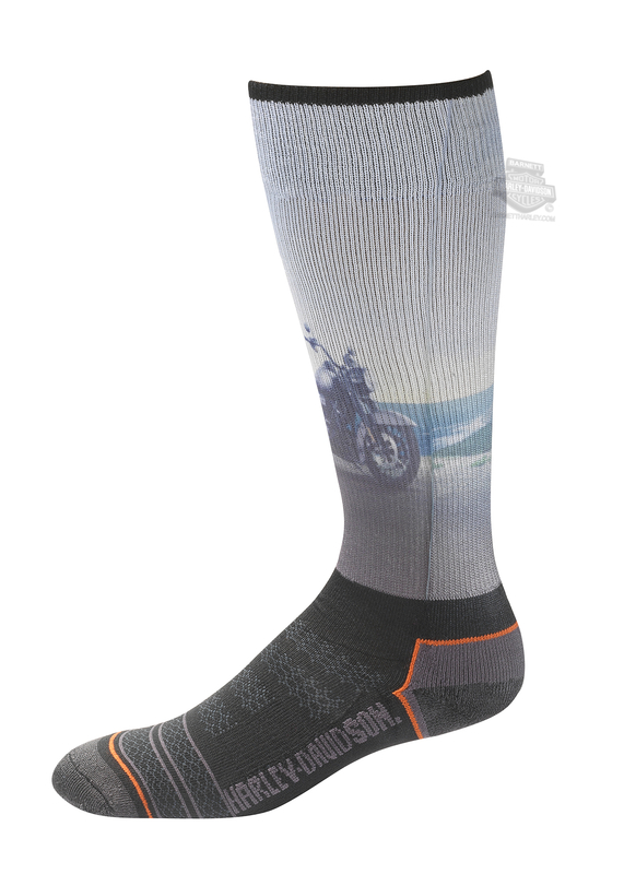 Harley-Davidson® Mens Cushion Vented Performance Riding Black Poly Blend Socks
