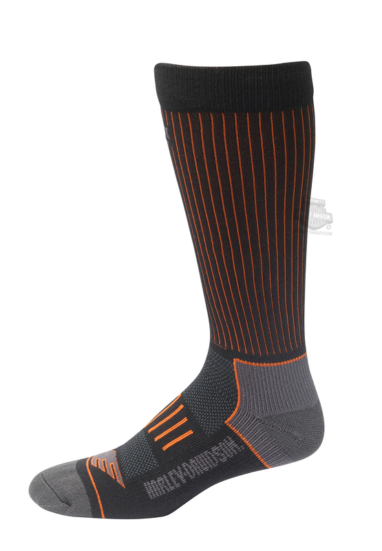 Harley-Davidson® Mens Compression Riding Black Poly Blend Socks