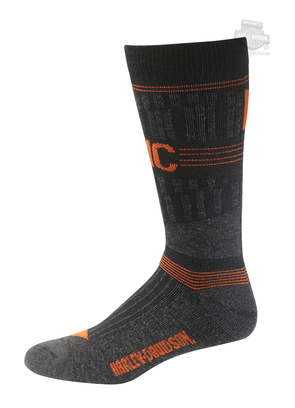 Harley-Davidson® Mens Merino Xtreme Performance Mid Calf Black Acrylic Blend Sock