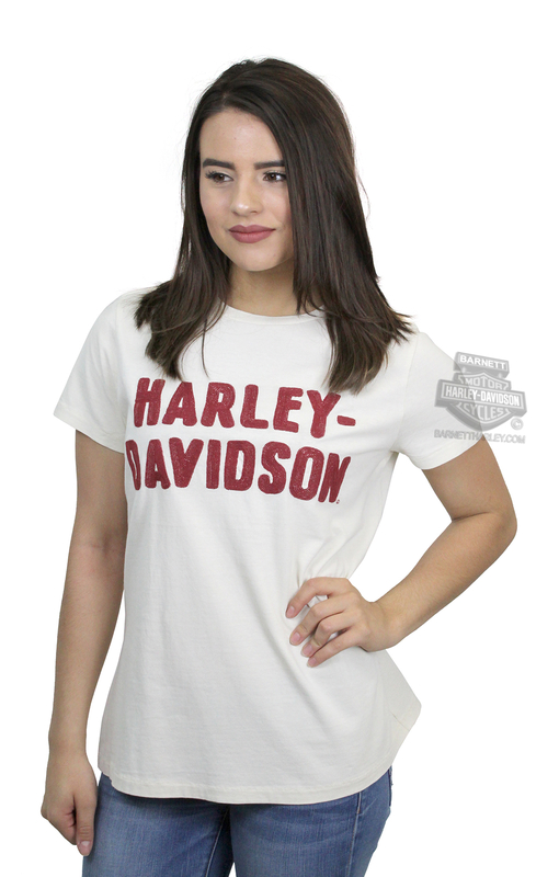 Harley-Davidson® Womens Chain Stitched H-D Name White Short Sleeve T-Shirt