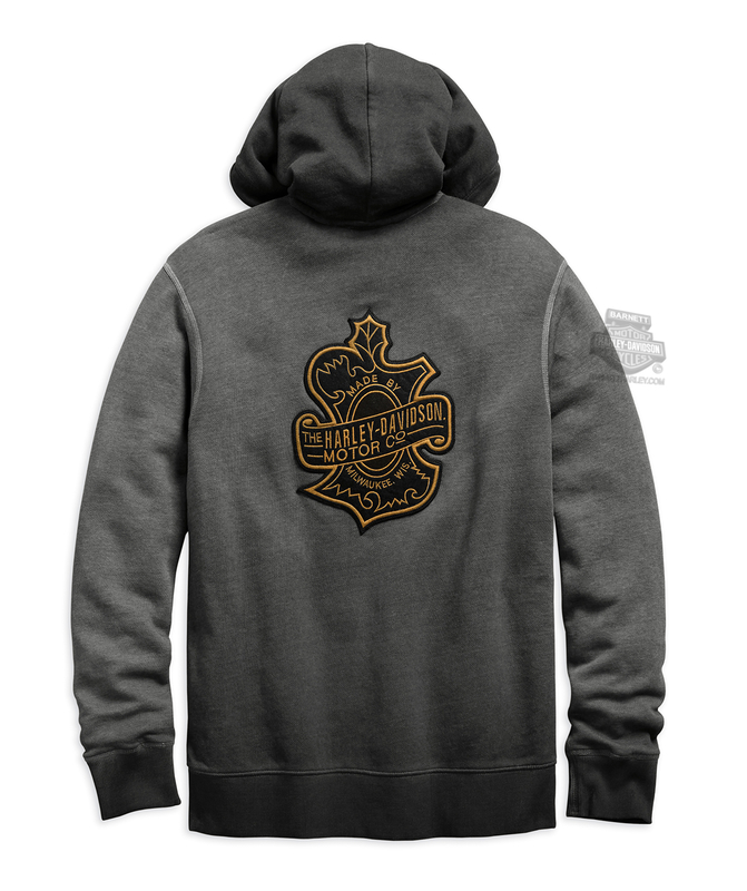 Harley-Davidson® Mens Oak Leaf Slim Fit Full Zip Black Long Sleeve Hoodie