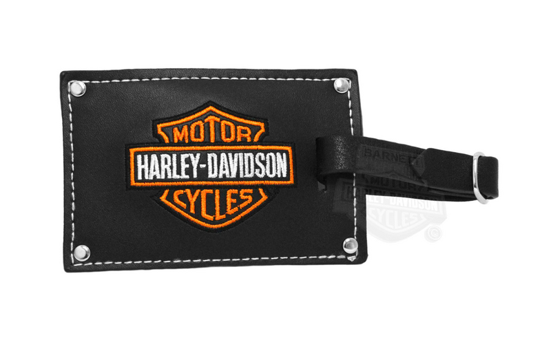 Harley-Davidson® Belted Black Leather Luggage Tag Set