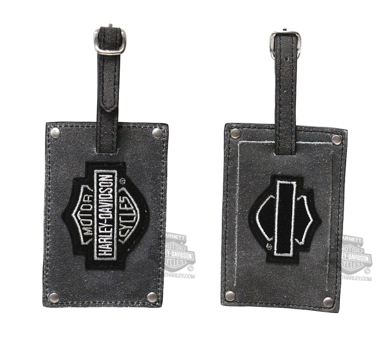 Harley-Davidson® Mens Belted 2PC Grey Leather Luggage Tag Set