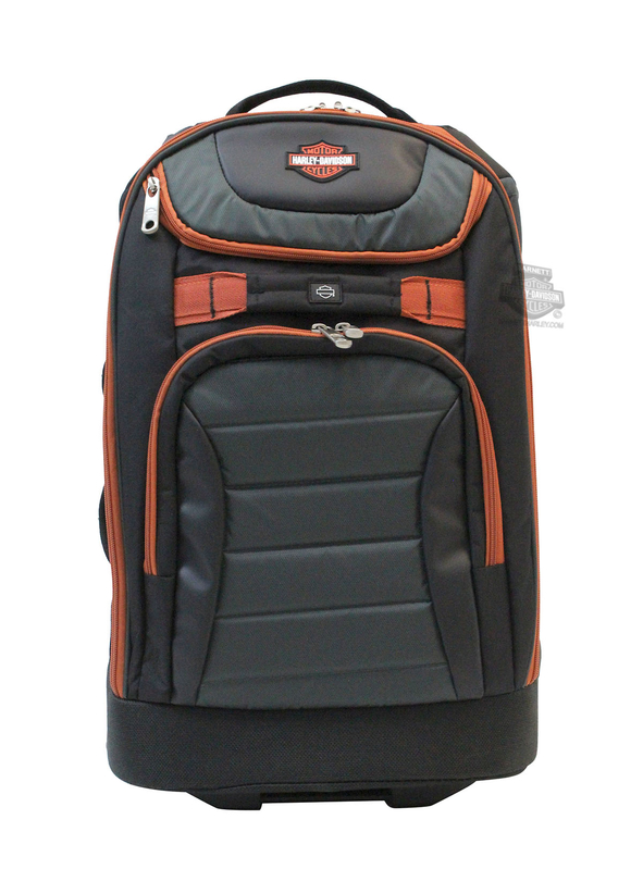 Harley-Davidson® Mens B&S Quilted 21' Carry On Grey Polyester Luggage