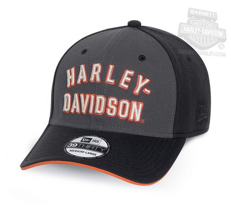 ** SIZE SMALL ONLY ** Harley-Davidson® Mens H-D Arch Font 39THIRTY® by New Era 3930 Black Acrylic Stretch Fit Baseball Cap