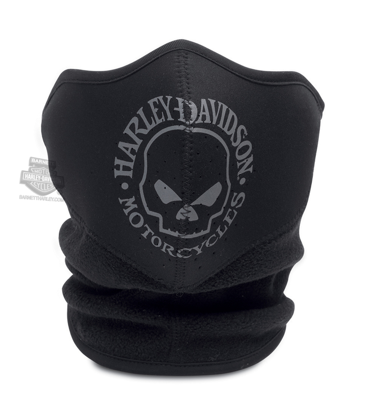 Harley-Davidson® Mens Willie G Skull Fleece Neoprene Black Poly Blend Facemask