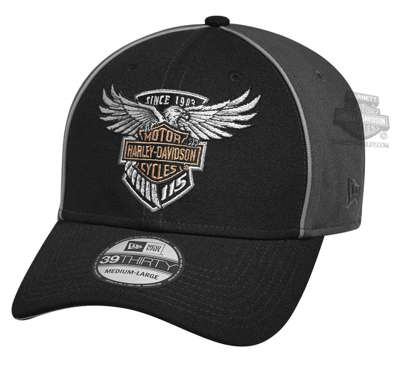 Harley-Davidson® Mens 115th Anniversary 39THIRTY® by New Era 3930 Black Polyester Stretch Fit Baseball Cap
