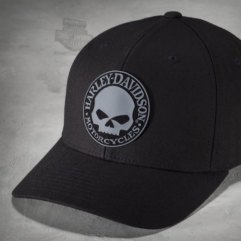 Harley-Davidson® Mens Rubber Willie G Skull Patch Flexfit® Black Cotton  Stretch Fit 725fa990567
