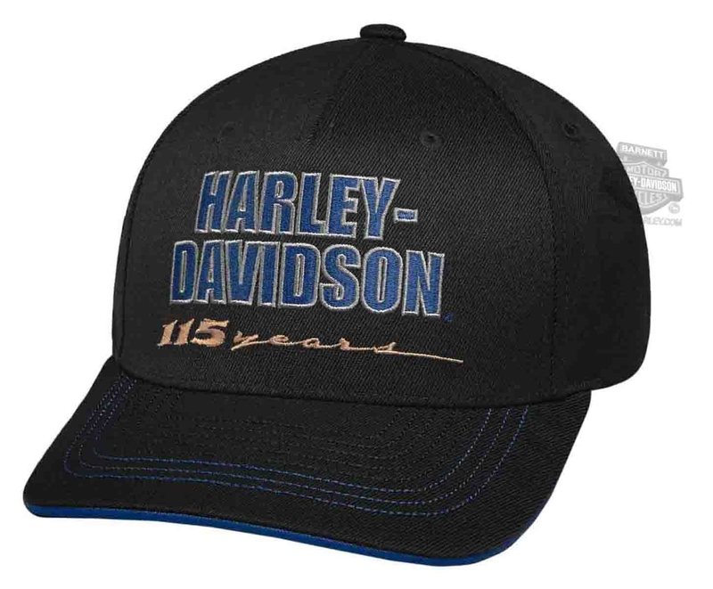 Harley-Davidson® Mens 115th Anniversary Black Acrylic Blend Baseball Cap