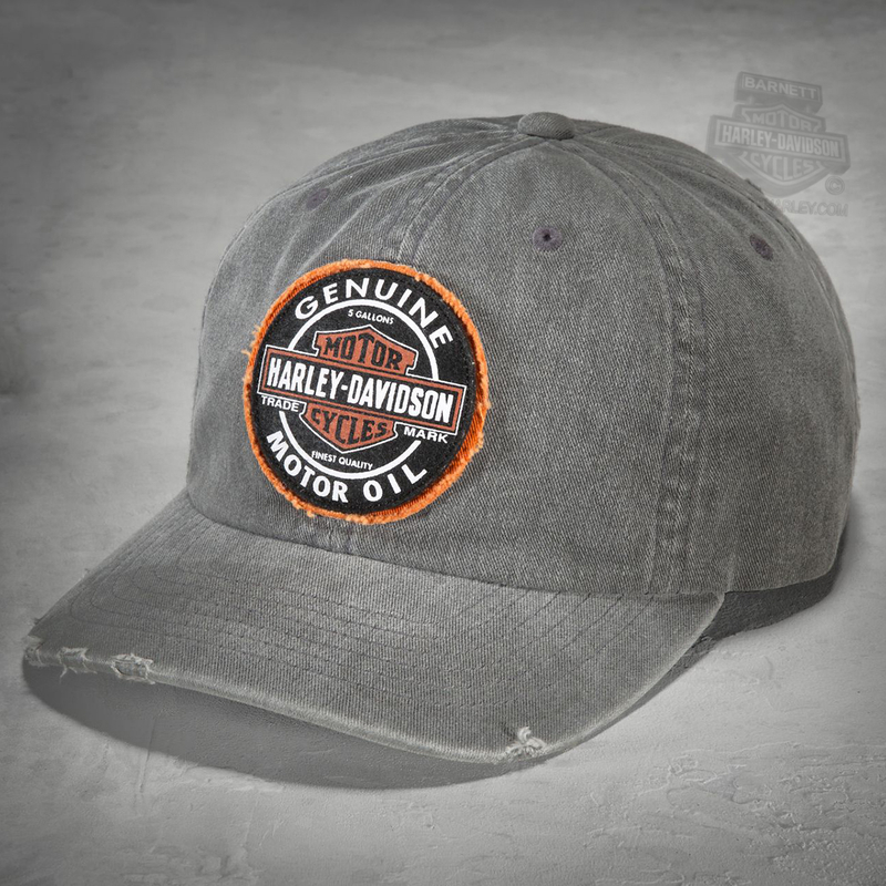 8cc54ff8d5b Harley-Davidson® Mens Genuine Oil Patch Frayed Distressed Grey Cotton Baseball  Cap