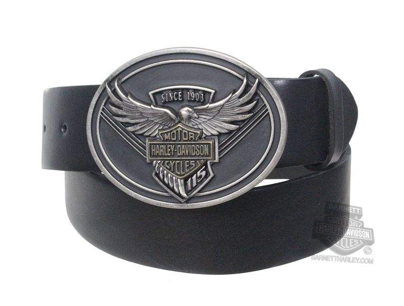 Harley-Davidson® Mens 115th Anniversary Matte Black Eagle Black Leather Belt