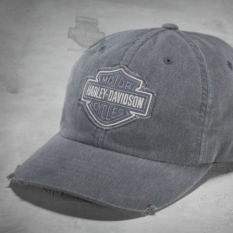 Harley-Davidson® Mens B&S Frayed Tonal Logo Distressed Grey Cotton Baseball Cap