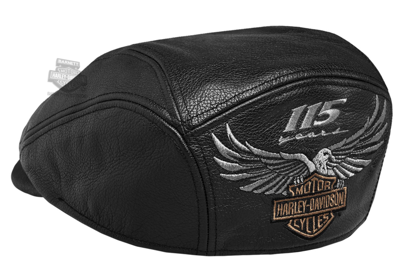 Harley-Davidson® Mens 115th Anniversary Eagle Black Leather Ivy cap *CIJ*