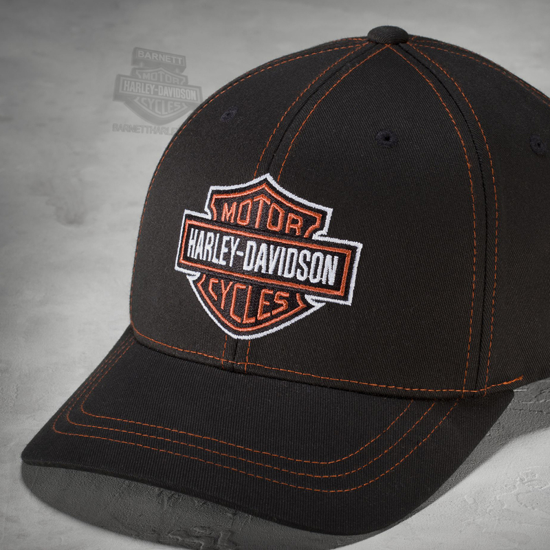 Harley-Davidson® Mens B&S Contrast Stitch Logo Flexfit® Black Cotton Stretch Fit Baseball Cap