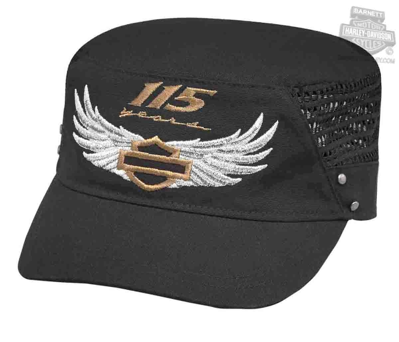 Harley-Davidson® Womens 115th Anniversary Metallic Graphics Black Cotton Flat Top Cap