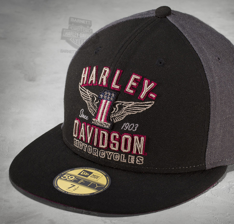 Harley-Davidson® Mens #1 Wing 59FIFTY® by New Era 5950 Colorblocked Grey Acrylic Blend Fitted Baseball Cap