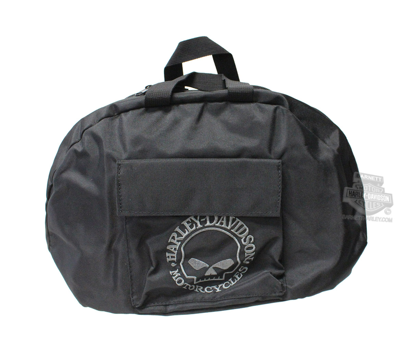 Harley-Davidson® Mens Willie G Skull Half Helmet Black Nylon Bag