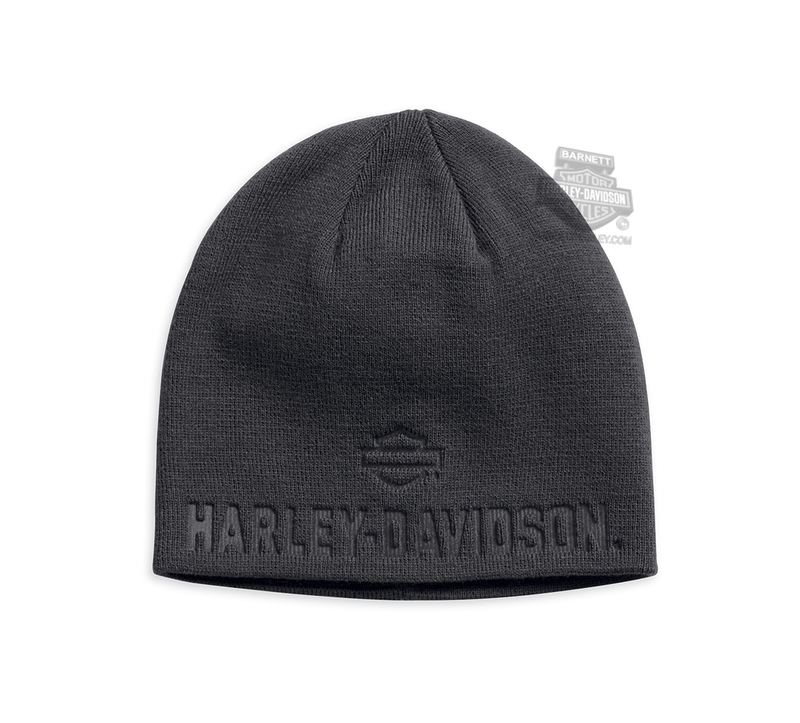 Harley-Davidson® Mens Debossed B&S Grey Acrylic Knit Cap