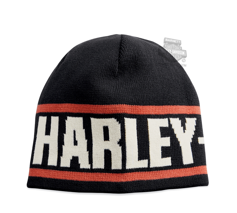 Harley-Davidson® Mens Reversible Knit-In Stripes with B&S Black Cotton Knit Cap