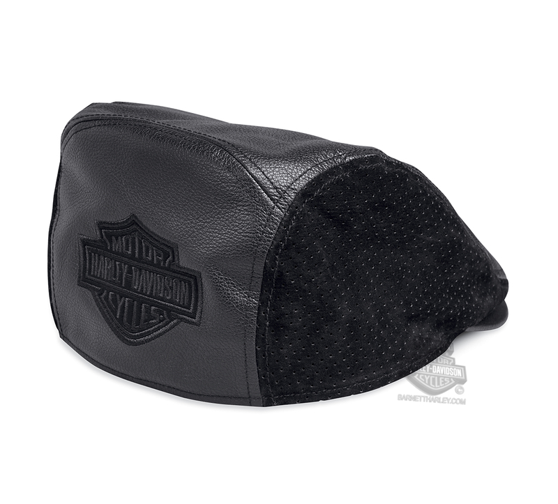 Harley-Davidson® Mens B&S Logo with Perforated Sides Black Leather Ivy Cap