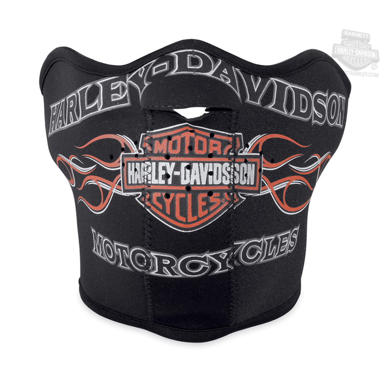 Harley-Davidson® Mens Pinstripe Flames with B&S Black Neoprene Facemask