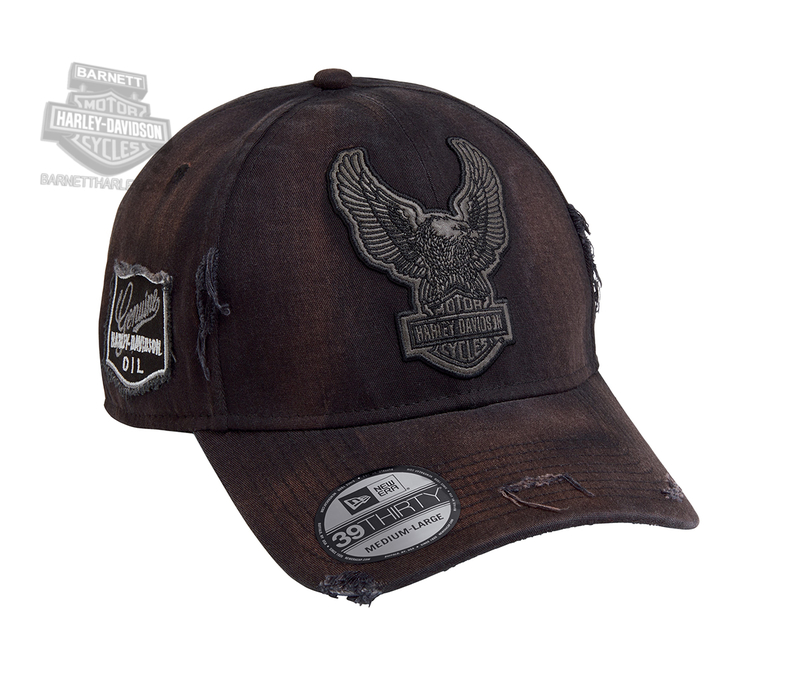 f9ad4b16c09ee Harley-Davidson® Mens Upright Eagle Patch 39THIRTY® by New Era 3930 Black  Cotton