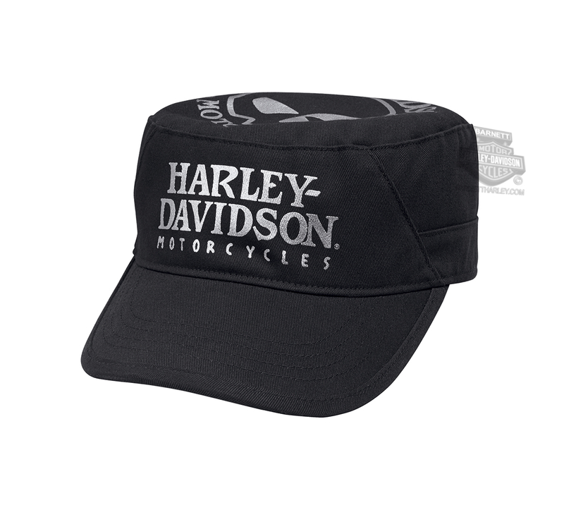Harley-Davidson® Womens Foil Willie G Skull Black Cotton Flat Top Cap