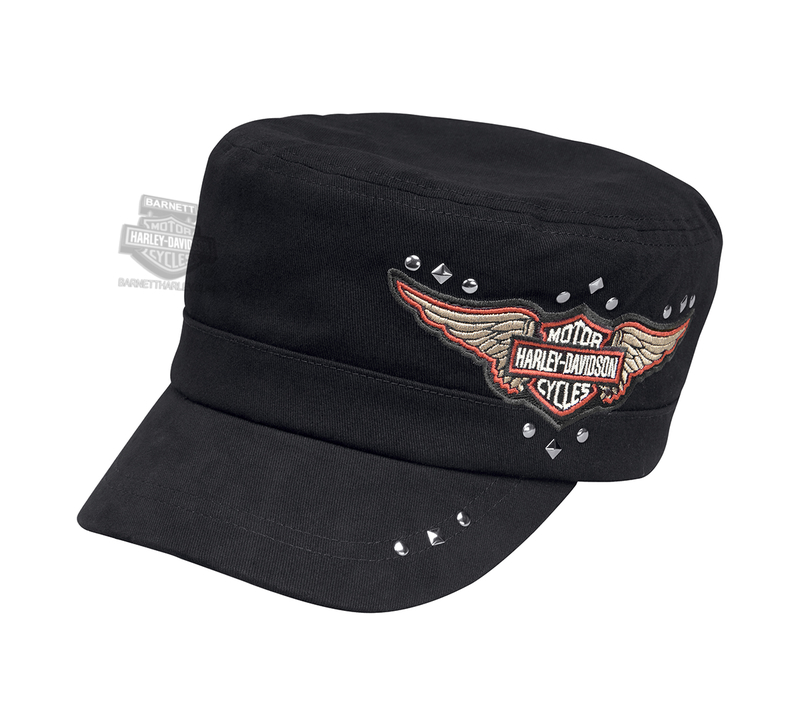 Harley-Davidson® Womens Winged B&S Logo with Studs Black Cotton Flat Top Cap