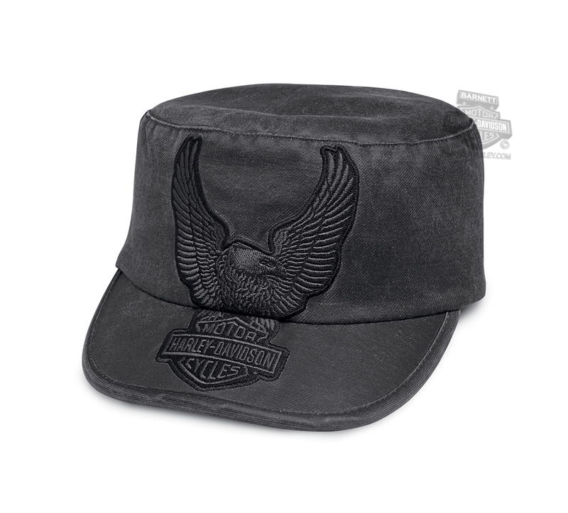 Harley-Davidson® Womens Upwing Eagle B&S Applique Charcoal Poly Blend Flat Top Cap
