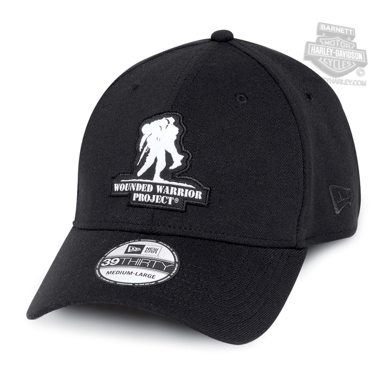 Harley-Davidson® Mens Wounded Warrior Project® 39THIRTY® by New Era 3930 Black Polyester Stretch Fit Baseball Cap