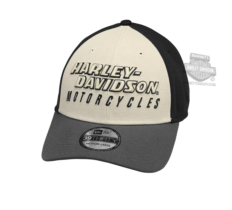 a550d93c6633 Harley-Davidson® Mens Colorblocked 39THIRTY® by New Era 3930 White  Polyester Stretch Fit