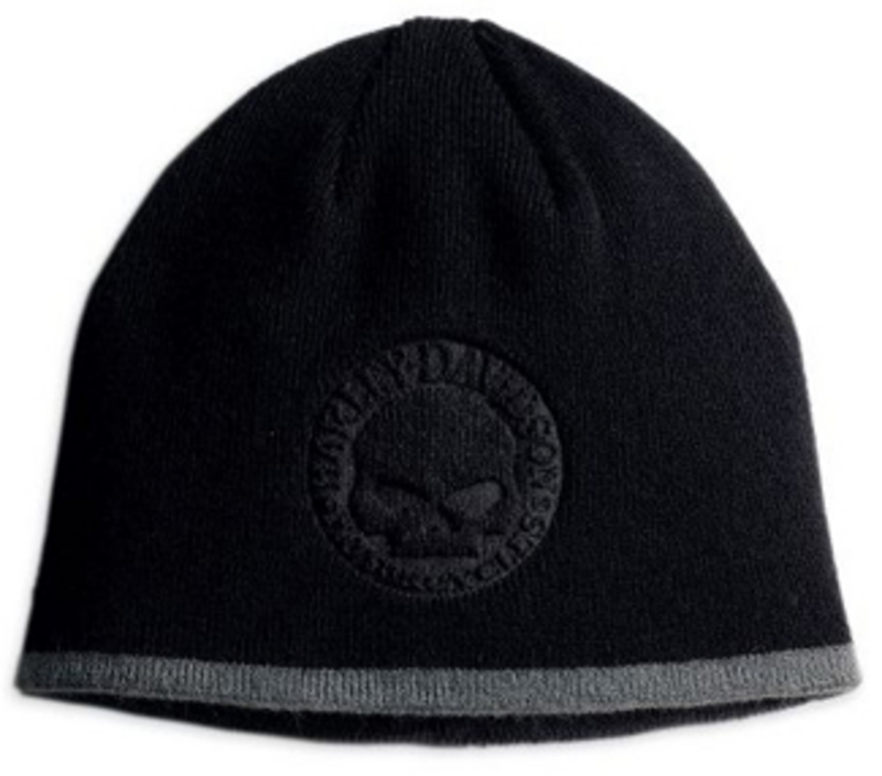 Harley-Davidson® Circle Willie G Skull Black Knit Cap Beanie