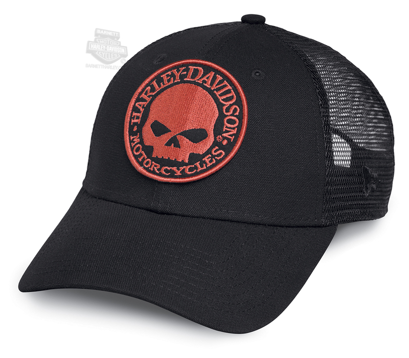 e553ef46192 Harley-Davidson® Mens Orange Willie G Skull Mesh Back Black Polyester  Trucker Cap